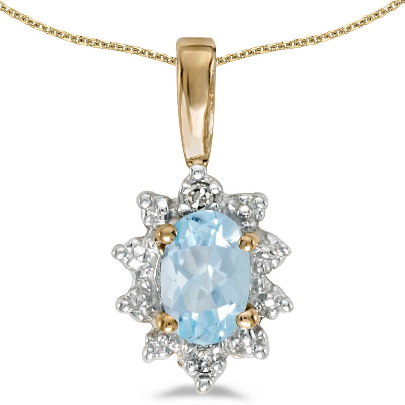 Color Merchants 14k Yellow Gold Oval Aquamarine And Diamond Pendant