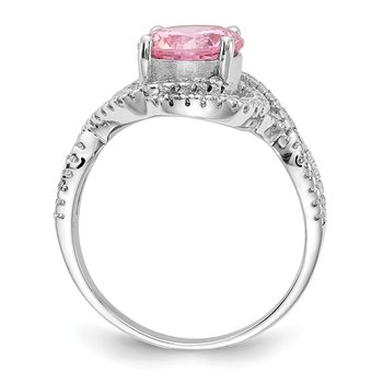 Cheryl M Sterling Silver Pink and White CZ Ring