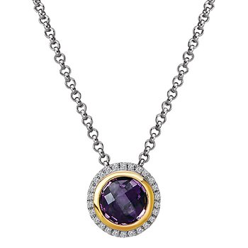 Diamond and Amethyst Halo Pendant