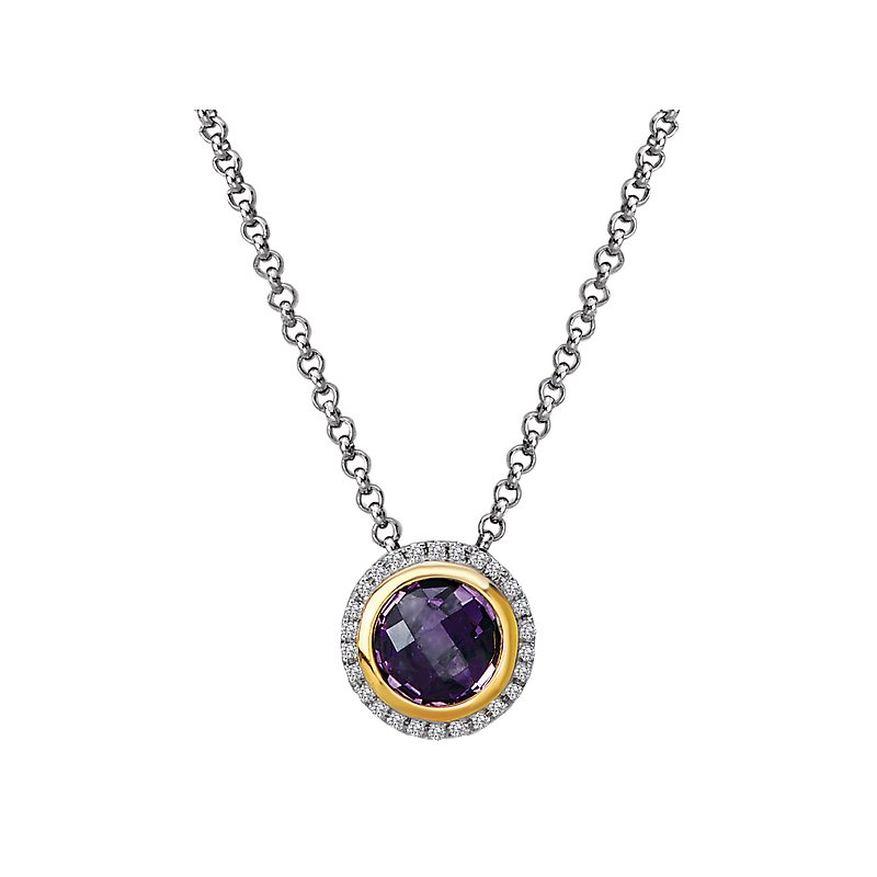 Eleganza Diamond and Amethyst Halo Pendant
