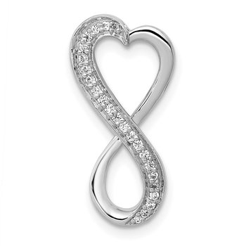 14k White Gold Diamond Freeform Heart Infinity Chain Slide