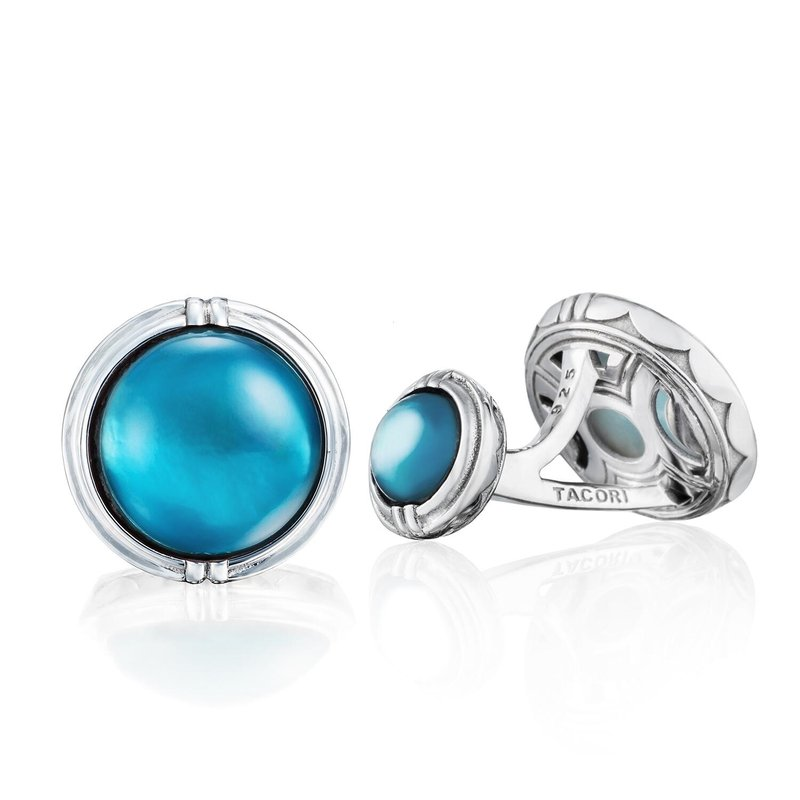 Tacori Fashion Classic Cabochon Cuff Links featuring Sky Blue Topaz over Mother of Pearl
