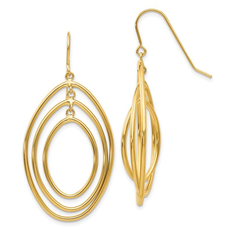 Quality Gold 14k Oval Circles Dangle Wire Earrings