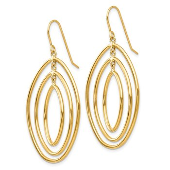 14k Oval Circles Dangle Wire Earrings