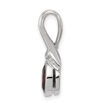 Sterling Silver Rhodium-plated w/CZ and Garnet Pendant