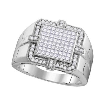 10kt White Gold Mens Princess Diamond Square Frame Cluster Ring 1.00 Cttw