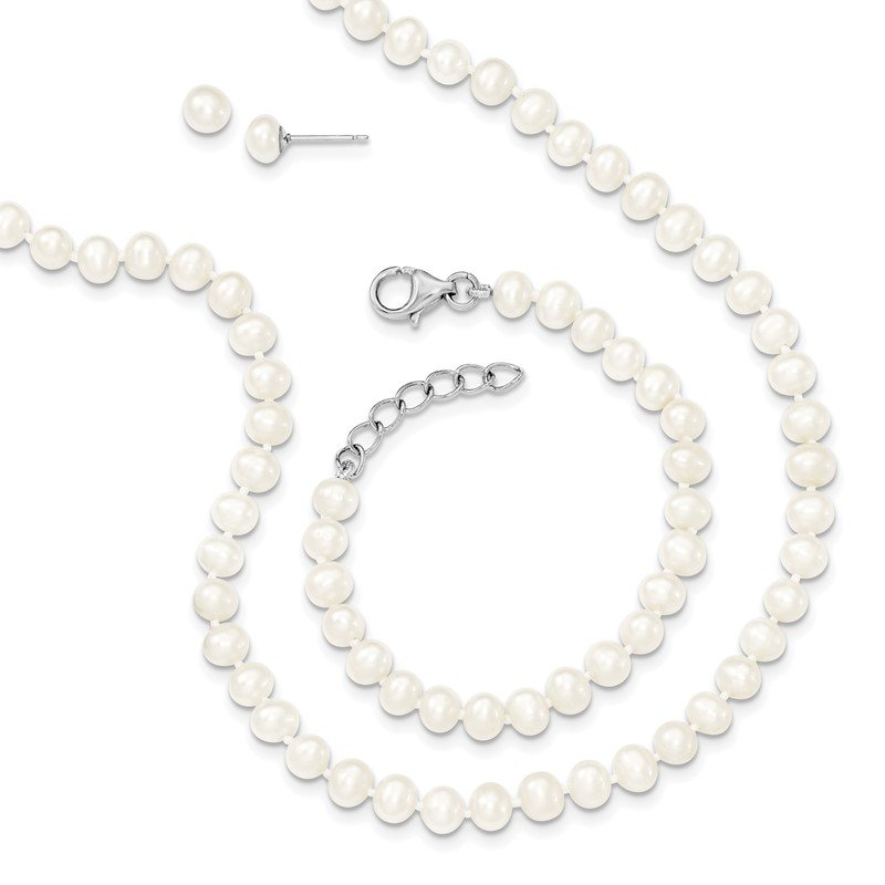 Quality Gold Sterling Silver RH 4-5mm FWC Pearl 14/1 Necklace 5/1 Brace Earring Set