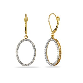 14K YG Diamond Oval Earring
