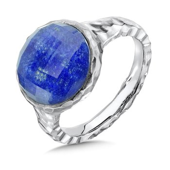 Hammered sterling silver, lapis and white quartz fusion ring