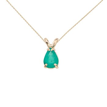 14k Yellow Gold Pear Shaped Emerald Pendant