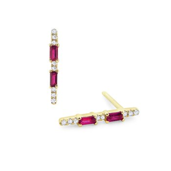 Ruby & Diamond Line Stud Earrings Set in 14 Kt. Gold