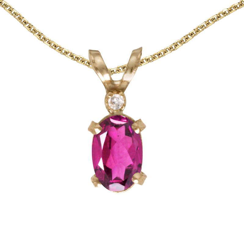 Color Merchants 14k Yellow Gold Oval Pink Topaz And Diamond Filagree Pendant