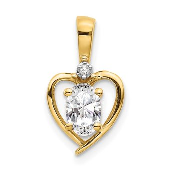 14k White Topaz and Diamond Heart Pendant
