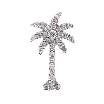 14K White Gold .50 Ct Diamond Palm Tree Pendant