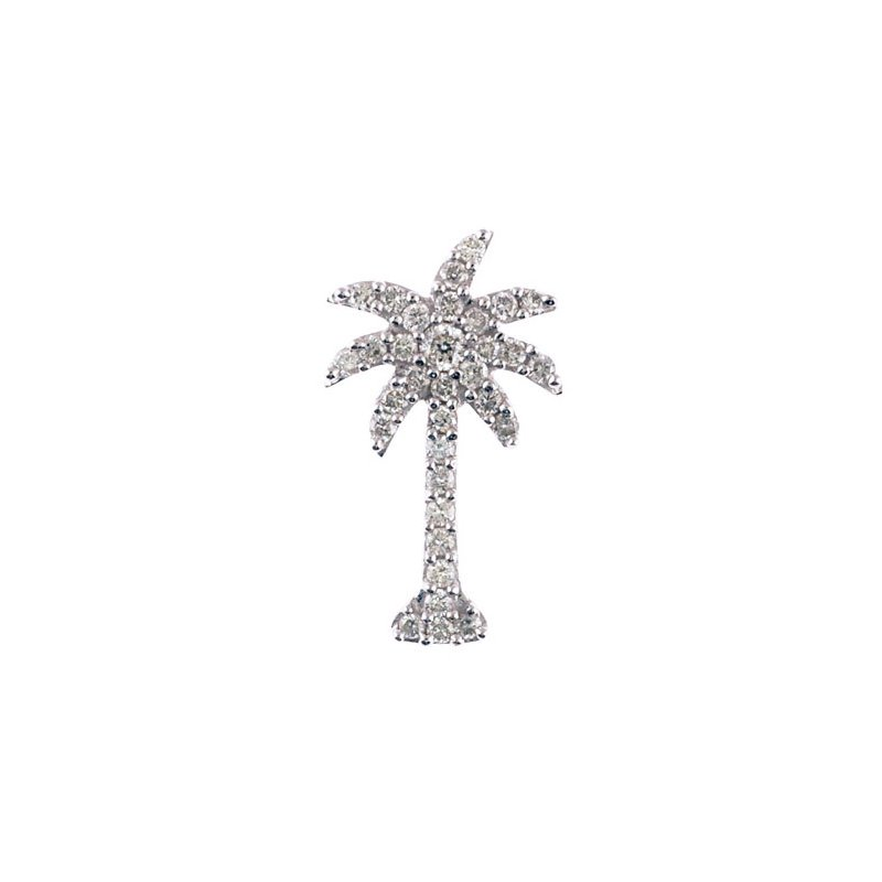 Color Merchants 14K White Gold .50 Ct Diamond Palm Tree Pendant
