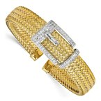 Leslie's Leslie's Sterling Silver Gold-plated CZ Polished Woven Cuff Bangle