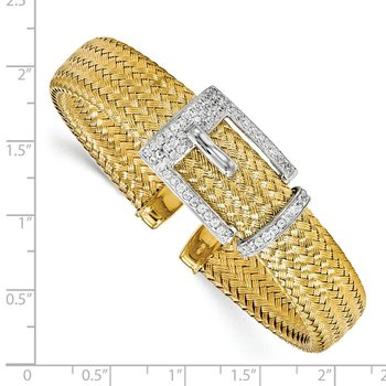 Leslie's Sterling Silver Gold-plated CZ Polished Woven Cuff Bangle