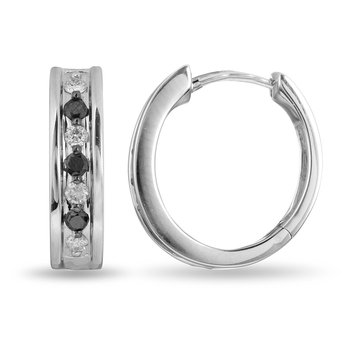 14K WG Black and White Diamond Hoop Earring