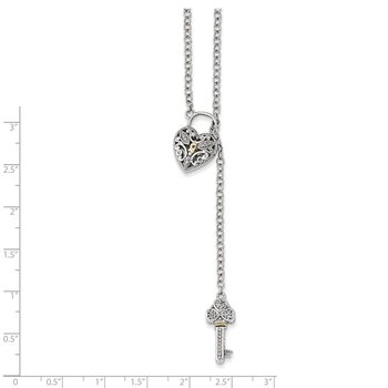 Sterling Silver w/14k Diamond Heart Lock and Key Necklace