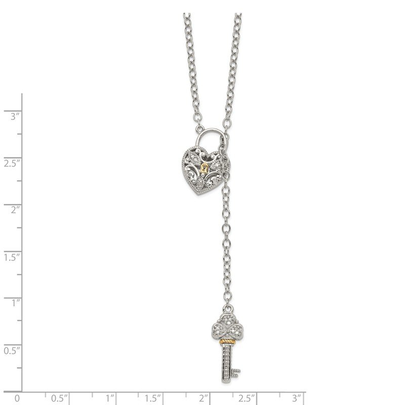 Shey Couture Sterling Silver w/14k Diamond Heart Lock and Key Necklace