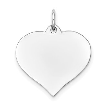 14K White Gold Heart Disc Charm