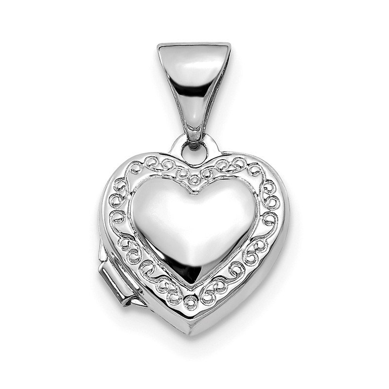 Quality Gold 14k White Gold Polished Heart-Shaped Scrolled Locket
