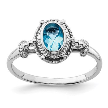 Sterling Silver Rhodium-plated with Blue Oval CZ Stone Ring