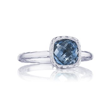 Petite Cushion Gem Ring with London Blue Topaz