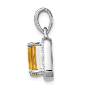 Sterling Silver Rhodium Emerald-cut Citrine & Diamond Pendant