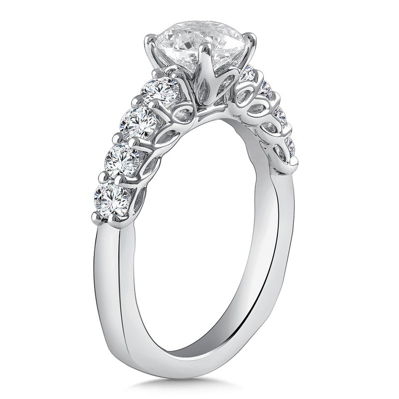 Caro74 Diamond Engagement Ring Mounting in 14K White Gold with Platinum Head (.64 ct. tw.)