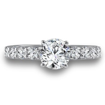 Diamond Engagement Ring Mounting in 14K White Gold with Platinum Head (.64 ct. tw.)