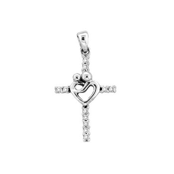 10kt White Gold Womens Round Diamond Mom Mother Child Cross Pendant 1/10 Cttw
