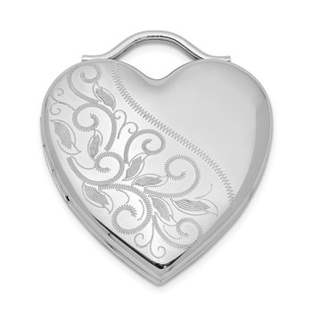 Sterling Silver Rhodium-plated 24mm Etched Heart Locket