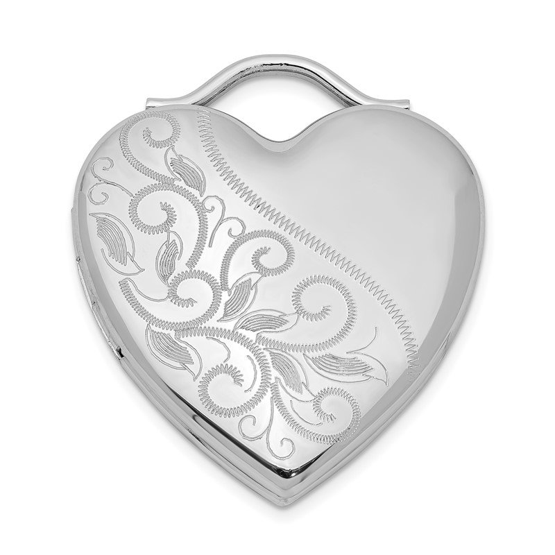 Quality Gold Sterling Silver Rhodium-plated 24mm Etched Heart Locket