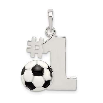 Sterling Silver Enameled & Polished Number One Soccer Pendant