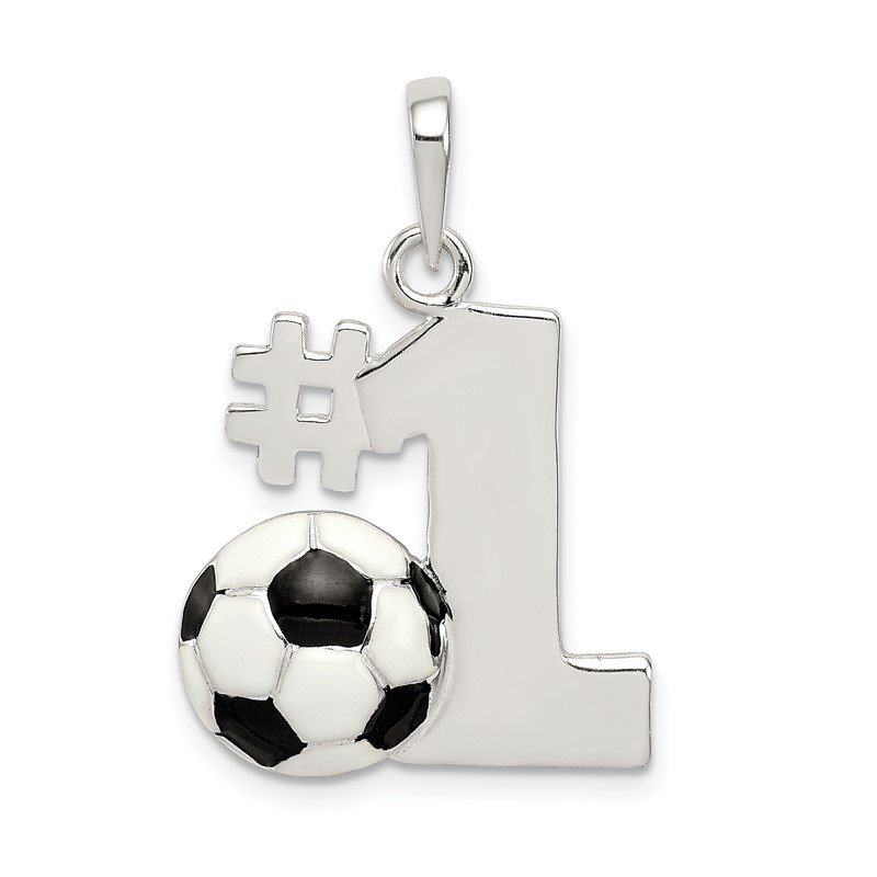 Quality Gold Sterling Silver Enameled & Polished Number One Soccer Pendant