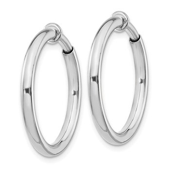 Sterling Silver RH-plated 2.5x20mm Non-Pierced Hoop Earrings