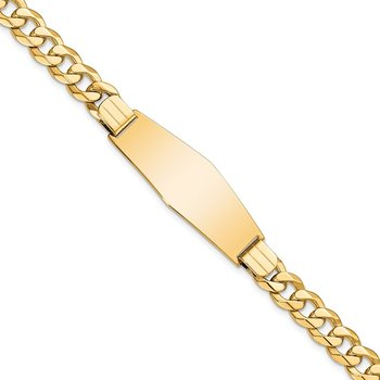 14k Flat Curb Link Soft Diamond Shape ID Bracelet