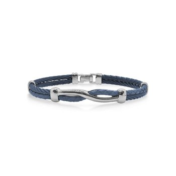 Blueberry Cable & Blue Leather Twist Bracelet