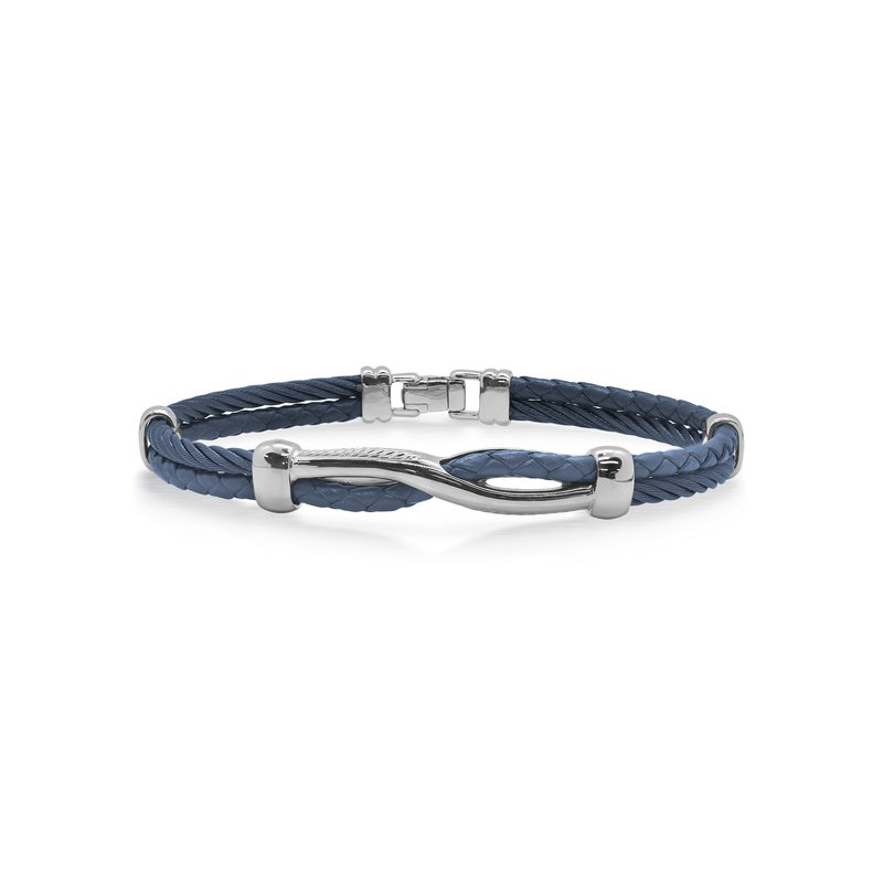 ALOR Blueberry Cable & Blue Leather Twist Bracelet