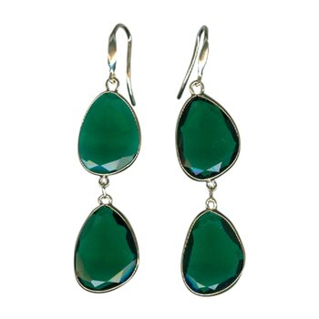 Clear Green Agate Double Drop Earrings