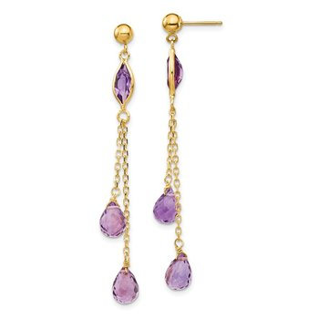 14k Amethyst Post Dangle Earrings