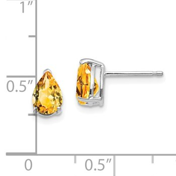 14k White Gold 7x5mm Pear Citrine Earrings