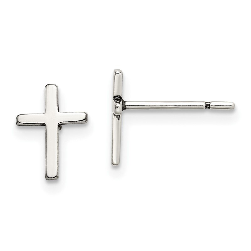 Quality Gold Sterling Silver Polished Cross Post Earrings