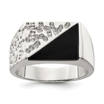 Sterling Silver Men's Onyx Ring