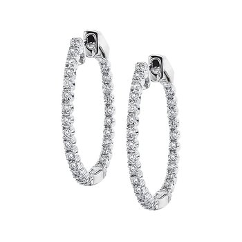 14K White Gold Secure Lock 24MM Diamond Hoops (0.67 CT)