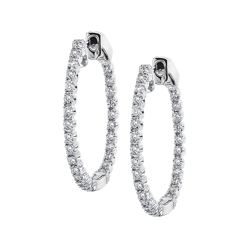 Color Merchants 14K White Gold Secure Lock 24MM Diamond Hoops (0.67 CT)