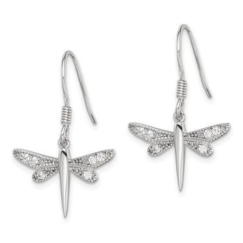 Sterling Silver CZ Dragonfly Earrings