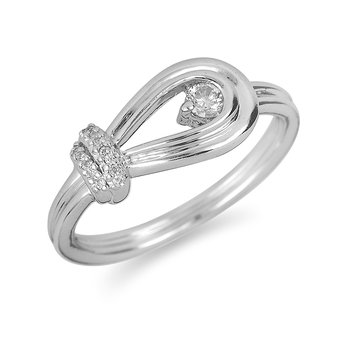 10K WG Diamond Love Knot Ring