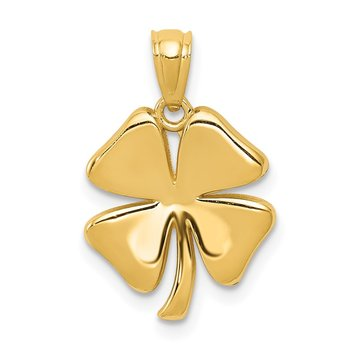 14k Gold Polished 4 Leaf Clover Pendant